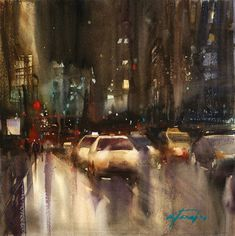 City Lights, Chicago I by Keiko Tanabe Watercolor ~ 11 x 11 inches x 28 cm) Watercolor City, Watercolor Artists, Artist Painting, Watercolour Painting, Watercolours, Street Painting, Light Painting, City Streets, City Lights