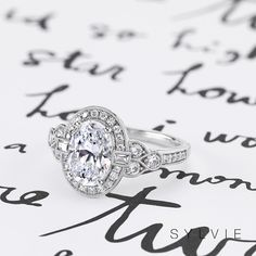 We love the detail on this multi-diamond engagement ring from Sylvie (Style Shop more styles here: Timeless Engagement Ring, Vintage Inspired Engagement Rings, Beautiful Engagement Rings, Engagement Ring Styles, Antique Engagement Rings, Designer Engagement Rings, Diamond Engagement Rings, Oval Engagement, Wedding Rings For Women