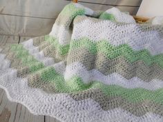 Handmade baby blanket in light mint green gray and white. Good gender neutral baby shower gift. Baby boy or baby girl nursery decor. Baby bedding