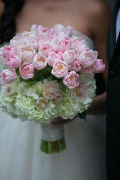 Biedermeir Style Wedding Bouquet Showcasing: White Hydrangea, Blushing Bride Protea + Pink Tulips