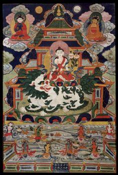 【高清】美国鲁宾艺术博物馆:19世纪<wbr><wbr>西藏萨迦传承《狮吼观音唐卡》