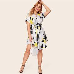 Plus Geo Print Curved Hem Shirt Dress Casual Belted Short Sleeve Dresses Women V Neck Midi Dress Size XL Color Multi V Neck Midi Dress, Dress Sash, Wrap Dress, Shirt Dress, Plus Dresses, Dresses For Work, Casual Belt, Dress Casual, Geometric Sleeve