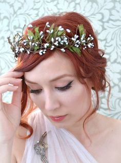 Leaf crown silver woodland head piece boho por gardensofwhimsy