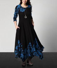 Black Floral Handkerchief Maxi Dress - Plus