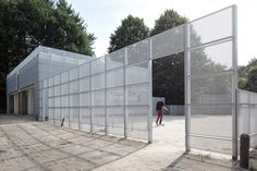 renovating a deserted pumping station in the netherlands, dutch firm derksen windt architecten have incorporated a transparent aluminum façade.