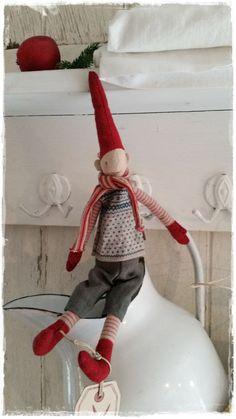 Christmas Elf, Winter Christmas, Xmas, Christmas Ornaments, Vibeke Design, Scandinavian Christmas, Whimsical, Shabby, Holiday Decor