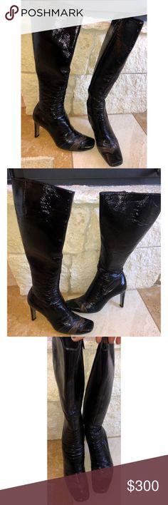 01d8f06aca Emilio Pucci Patent Leather Chevron Heeled Boots Emilio Pucci Patent  Leather Chevron Heeled Boots. Black