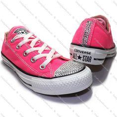 Swarovski or Diamante Crystal Adult Lo Top Converse In Neon Pink www.craftyjewels.co.uk