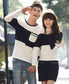 Korean Fashion Couple Men T-Shirt + Women Dress (Two Pieces)