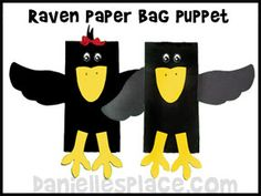 These crow (or raven) projects were made using paper bags and would be great to add to a fall bulletin board display with a scarecrow, fall leaves, and pumpkins.