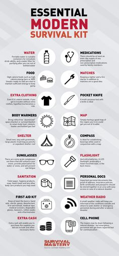 Modern essentials kit for survival infographic
