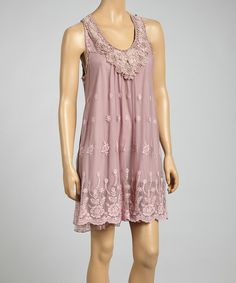 Look what I found on #zulily! Mauve Linen-Blend Sleeveless Dress #zulilyfinds
