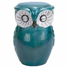 "Brimming with woodland charm, this owl-shaped ceramic garden stool adds a whimsical touch to your decor.  Product: Garden stoolConstruction Material: CeramicColor: Teal and whiteFeatures: Owl motifDimensions: 17"" H x 13"" W x 10"" D"