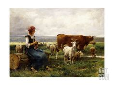 Shepherdess with Cows and Goats Premium Giclee Print by Julien Dupre at Art.com