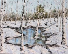 """16*20 original oil painting. Winter forest oil painting, birch trees painting, winter puddle art, hand painted, sun reflecting in water. Stretched back stapled canvas. Signed by artist. """"Puddle in winter forest"""" 16*20 is an original oil painting on stretched back stapled 16*20 inches canvas (can be hung as is). The painting was created with mostly palette knife."""