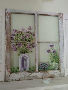 64 Ideas shabby chic vintage diy window frames for 2019 Old Window Art, Window Pane Art, Cat Window, Window Frames, Window Wall, Window Pane Crafts, Old Windows Painted, Painted Window Panes, Shabby Chic Art