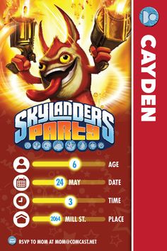 Skylander Birthday Invitation 4x6 by DenimGraphics on Etsy