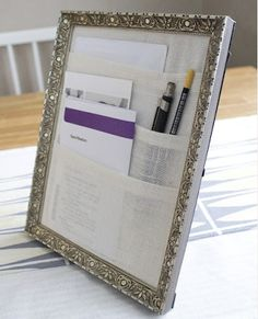 Want your desk organized? This cute picture frame is one strategy! Whether you use it for those little pieces of paper or have it hold a few pens so you can easily correct - you're going to love it!