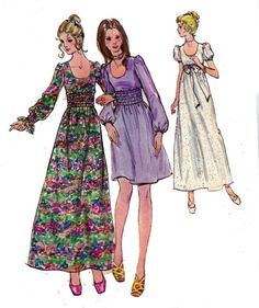 1970s Sewing Pattern Dress with Shirred by allthepreciousthings, $7.00