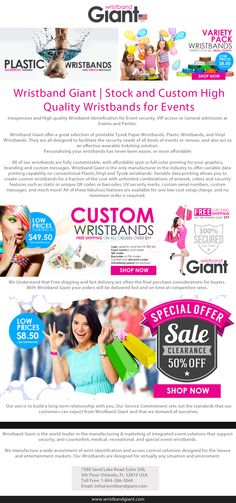 https://wristbandgiant.com | Wristband Giant is the world leader in the manufacturing & marketing of integrated event solutions that support security, anti-counterfeit, medical, recreational, and special event wristbands.