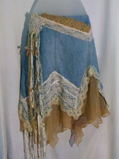 Denim skirt blue jean lace embellished tattered re by LamaLuz