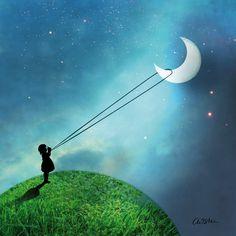 Chasing The Moon Napkin 33x33 cm  #ppd #paperproductsdesign #mystic #moon #mond #stars #sterne #sky #himmel #world #welt #design #art #catrin #welzstein #serviette