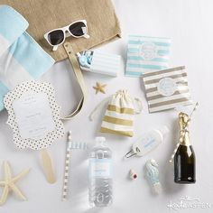 Welcome your guests to a fun beach destination wedding in the sun with a bright (and practical) welcome bag.   DIY Beach Destination Wedding Welcome Bag   Kate Aspen
