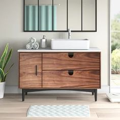 Mid Century Bathroom Vanity, Wooden Bathroom Vanity, Mid Century Modern Bathroom, Bathroom Vanity Designs, Single Bathroom Vanity, Bathroom Interior Design, Bathroom Ideas, Modern Bathroom Vanities, Bath Ideas