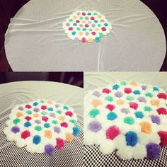 A bit more of Maggie's pom pom rug done :-) #diyhomedecor #pompoms #funwithyarn #latenightcrafting #sofluffy