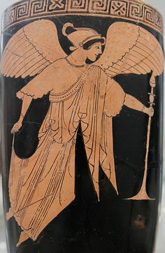 Attributed to the Dutuit Painter.Winged Nike carrying a thymiaterion, Attic red-figure lekythos.Metropolitan Museum of Art