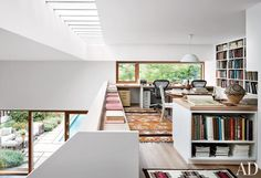 50 Home Office Design Ideas That Will Inspire ProductivityIn Stephen Harvey's mezzanine office of his Sagaponack New York retreat an Arne Jacobsen pendant light from Louis.Mezzanine Beaumont: An Addition of Mezzanine Office Space to the Industrial Loft Architectural Digest, Store Concept, Home Interior, Interior Design, Mezzanine Floor, Home Office Design, Apartment Design, Apartment Makeover, Office Interiors