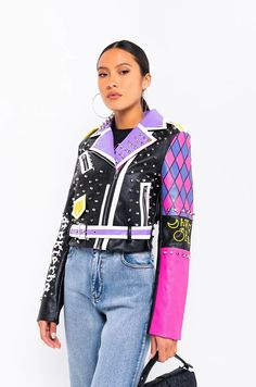 AZALEA WANG SHEEBA KAHN MOTO JACKET in color pink Studs And Spikes, Moto Jacket, Your Shoes, Snug Fit, Studded Leather Jacket, Design Inspiration, Coat, Long Sleeve, Casual