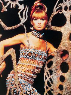 """an YSL design in S/S 1967 collection named """"African"""". It is the way Yves Saint Lauren designer remember about his country """"Africa"""" with all of love. He bring all the Africa soul in his heart into the collection with beadwork to make tribe dresses."""