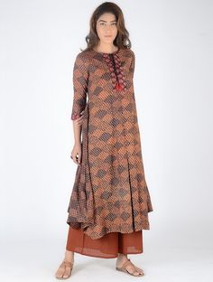 Buy Rust Black Red Block Printed Box Pleated Cotton Kurta with Embroidery Women Kurtas Online at Jaypore.com
