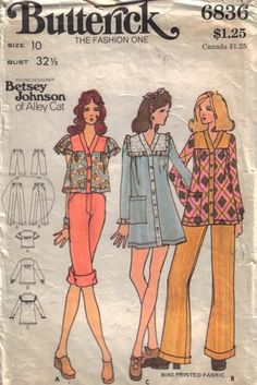 Butterick patterns 1974 --17)w8)Red Pants 17)w9) Long Blouse Red White Grid Paid 18)Dress Forest Green Solid with Forest Gingham 14)w8)Orange Gingham Crop Top 19)10w) Pink Cuff Pedal Pushers