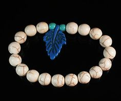 Charming Howlite Turquoise Light Blue Leaf White Ball Beads Stretch Bracelet 406
