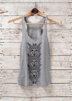 Wolf Totem tank. Soooo me. http://www.etsy.com/listing/74618674/wolf-totem-tank-womens-tri-blend-tank