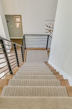 Carpet Staircase, Staircase Runner, Staircase Remodel, Staircase Makeover, Wood And Carpet Stairs, Farmhouse Stairs, Farmhouse Interior, Modern Farmhouse, Modern Stairs