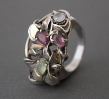 Ring Sterling Silver 14k. Gold Mix Tourmalines