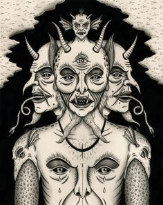 """'Weeping Demon"""" - 2013 - India ink on paper - 11"""" x 14"""" - SOLD Get a print here: http://society6.com/jonmacnair/Weeping-De..."""