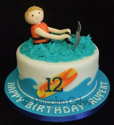 A yummy madeira cake for a waterski and wakeboard lover! All sugarpaste decoration