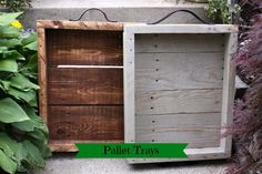 DIY pallet trays using pieces of an old pallet and belts.  I love the the gray stained with Rustoleum's Sun Bleached Stain.
