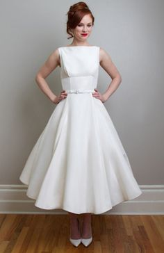 Linda - Vintage Inspired Tea Length Wedding Dress -Fancy Bridal NY most iconic dress Linda. A vintage inspired tea length wedding dress in silk mikado. (size 4 off the rack at sophia's bridal) Tea Length Wedding Dress, Tea Length Dresses, Retro Wedding Dresses, Vintage Dresses, Vintage Clothing, Rehearsal Dinner Fashion, Bridal Gowns, Wedding Gowns, 50s Wedding
