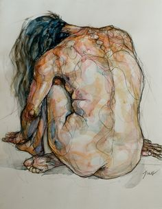 Sylvie Guillot (b. 1972, Paris, France) - Mariana 3, 2009 Black Chalk, Watercolors