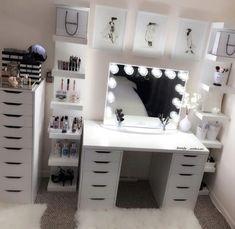 Schminkzimmer – Hair and beauty - Baby Room Room Ideas Bedroom, Bedroom Decor, Bedroom Storage, Bedroom Designs, Sala Glam, Vanity Room, Ikea Vanity, Cute Room Decor, Diy Beauty Room Decor