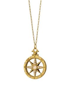 18K Gold Diamond Compass Charm Necklace by Monica Rich Kosann at Neiman Marcus.