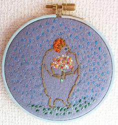 刺繍絵『花と雨の少女』
