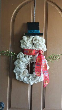 Snowman Christmas burlap wreath made by Audrey Rose