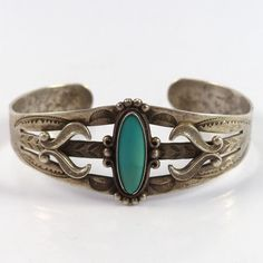 """Vintage """"Fred Harvey"""" Sterling Silver Cuff Bracelet with Stamped Designs and set…"""