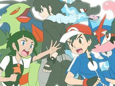 Ash Ketchum and his Greninja with Sawyer and Alain ♡ I give good credit to whoever made this Pokemon Kalos, Ash Pokemon, Sawyer Pokemon, Alain Pokemon, Pokemon Ash Ketchum, Green Pokemon, Pokemon Universe, Original Pokemon, Pokemon Special